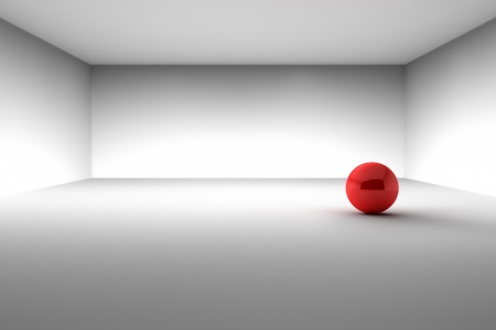 Red Ball in the Empty Room Stock Photo - 16787758