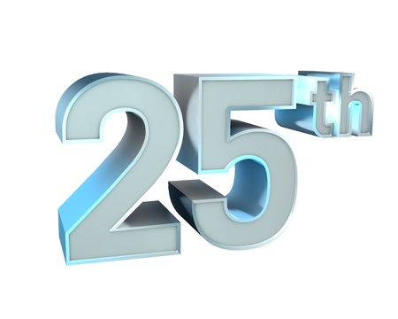 25th: Silver Character Collection  25th anniversary  Stock Photo