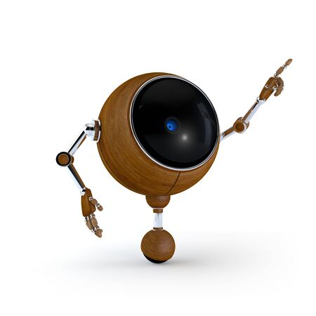 3D Illustration Robot Point Side with Hand and Isolated on Background Stock Photo