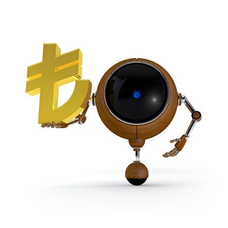 3D Illustration Robot Hold Money Sign in Hand. Turkish Lira Sign. Isolated on Background Stock Illustration - 17549056