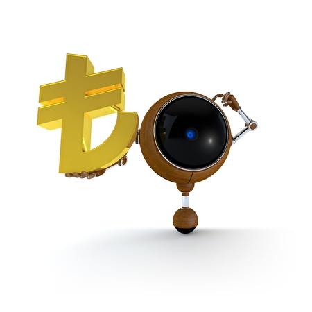 3D Illustration Robot Hold Money Sign in Hand  Turkish Lira Sign  Isolated on Background Stock Illustration - 17549017