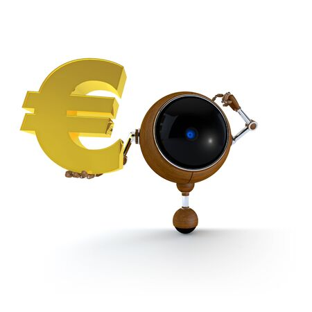 lira: 3D Illustration Robot Hold Money Sign in Hand   Euro Sign  Isolated on Background Stock Photo