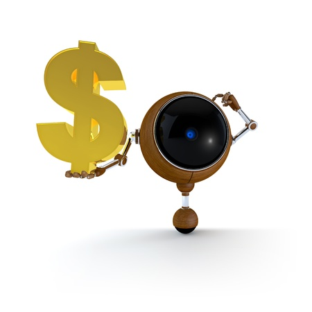 3D Illustration Robot Hold Money Sign in Hand  Dollar Sign  Isolated on Background Stock Illustration - 17549019