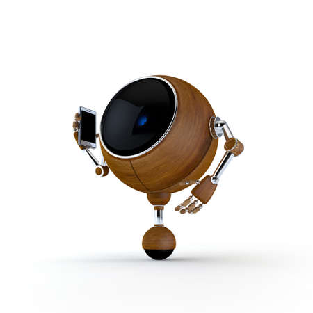 3D Illustration Robot Talking on the Phone Isolated on Background Stock Illustration - 17549009