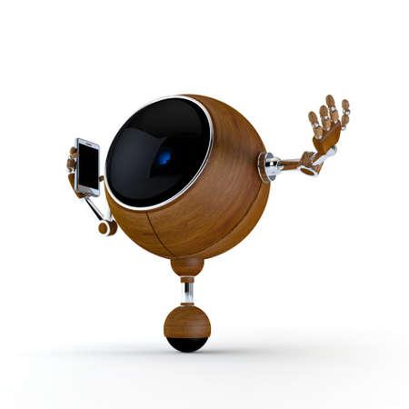 talking robot: Robot Ilustraci�n 3D Hablar por el tel�fono aislado en el fondo