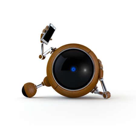 3D Illustration Robot Talking on the Phone Isolated on Background Stock Illustration - 17548998