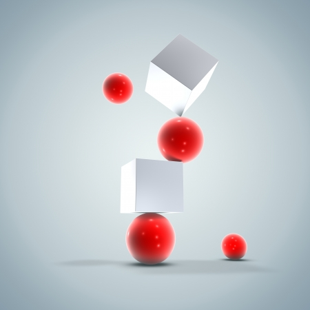 Abstract 3D Red Balls and White Cubes Balance Background Texture Design
