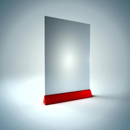 3D Illustration of Blank Information Glass Holder Render isolated on Background