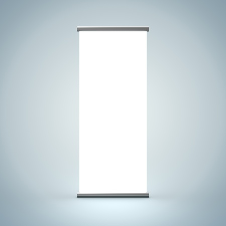 3D Illustration of Blank Roll Up Render isolated on Background