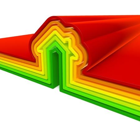 Illustration 3D de l'�nergie Maison graphique de rendu sur fond blanc isol� Banque d'images