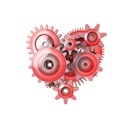 automation: 3D Illustration Perfect Work Gear Heart Isolated on Background