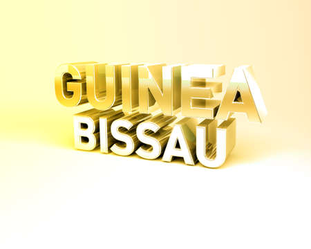 guinea bissau: 3D Illustration of Country Names Render isolated on White Background Stock Photo