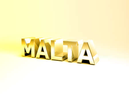 malta cities: 3D Illustration of Country Names Render isolated on White Background Stock Photo