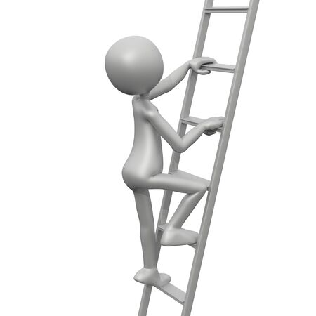 climbing ladder: 3D Guy Climbing Ladder