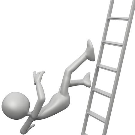 3d guy: 3D Guy Falling Off Ladder Stock Photo