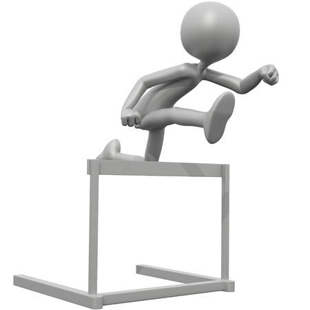 3d guy: 3D Guy Jumping Hurdles Stock Photo
