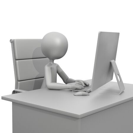 3d guy: 3D Guy Sitting at Desk with Computer Stock Photo