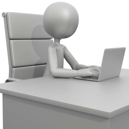 3d guy: 3D Guy Sitting at Desk with Laptop Stock Photo
