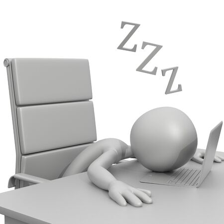 3d guy: 3D Guy Sleeping at Desk with Laptop