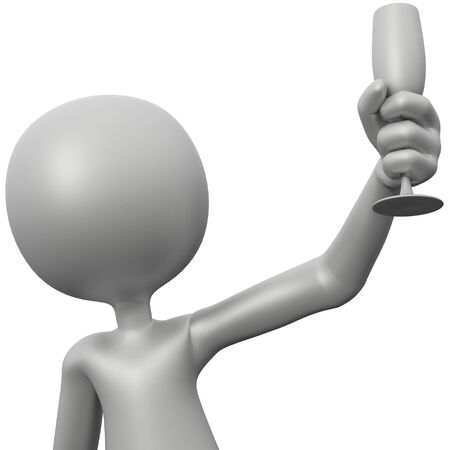 3d guy: 3D Guy Toasting (with Champagne Glass)