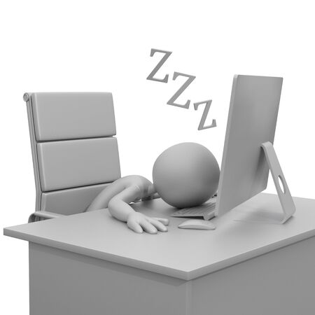 3d guy: 3D Guy Sleeping at Desk with Computer