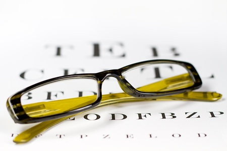 visually: glasses on the background of eye test chart