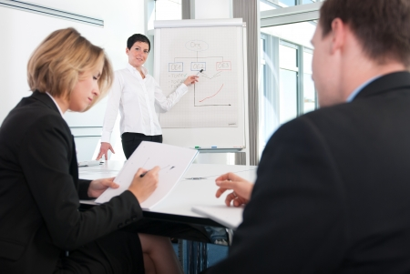 describe: Training of a team in the conference room