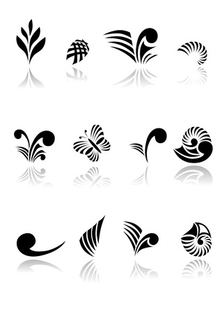 zealand: Collection of Maori Koru Design Elements with Reflections File - contains transparencies