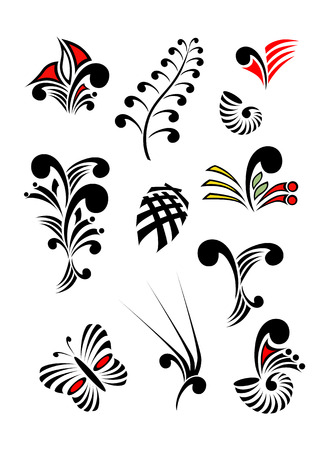 Collection of Maori Koru design elements with color - each object grouped separately 일러스트