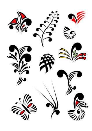 컬러가있는 마오리 코루 디자인 요소 모음 - 각 개체는 따로 분류 됨