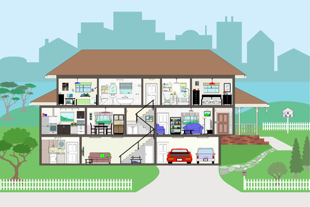 garage on house: Cutaway of residential house - rooms very detailed include wallpaper and furnishings - grouped and layered Illustration