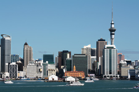 new zealand: Auckland city central business district  waterfront with the Sky Tower in background Stock Photo