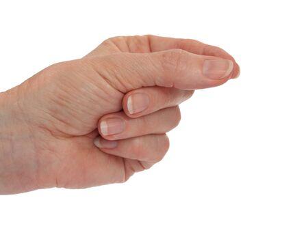 Handpalm horizontaal - met de wijsvinger en duim plukken Geïsoleerd op wit