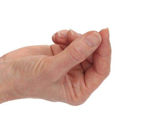 Handpalm omhoog - met de wijsvinger en duim aanraken Geïsoleerd op wit Stockfoto