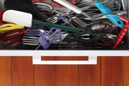 elevated view: Kitchen Utensil Drawer on Black Elevated view