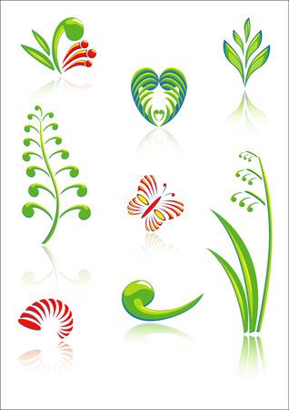 Collectie van Maori Koru design elementen met kleur en Reflections