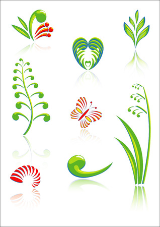 Collection of Maori Koru Design Elements with Color and Reflections