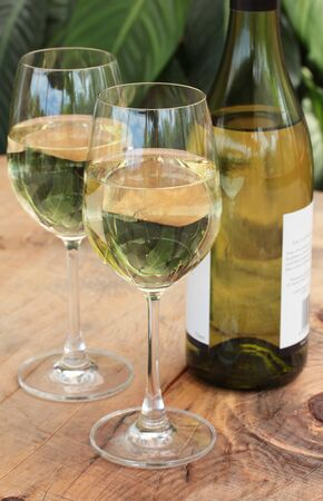 glass table: Glasses  Bottle of white wine on outdoor wooden table with plants in background Stock Photo
