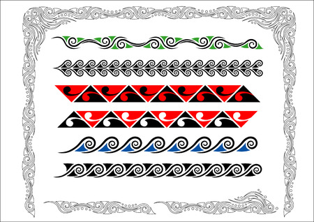 Colección de los maoríes de Koru Fronteras con colorCollection de los maoríes de Koru Fronteras con el color Ilustración de vector
