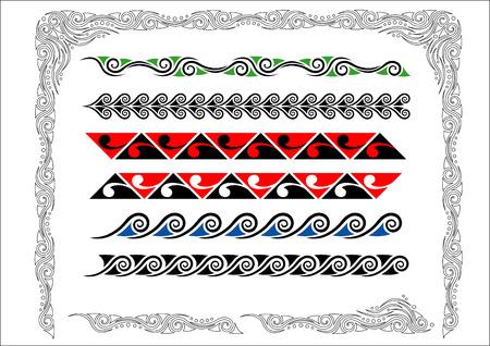 Het verzamelen van Maori Koru Borders met colorCollection van Maori Koru Borders met kleur Stock Illustratie