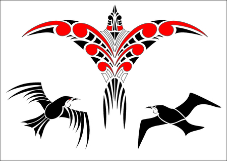 traditional pattern: Collection of Maori Koru Bird Designs with color - each bird grouped Illustration