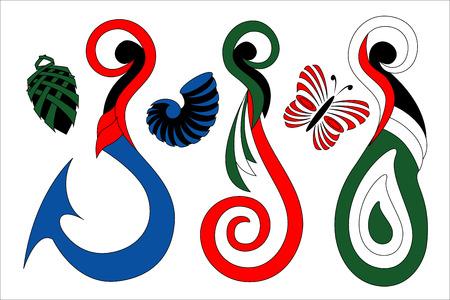 Verzameling van gestileerde traditionele maori ontwerp pictogrammen Stock Illustratie