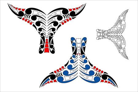 カラー バリエーションと様式化されたマオリ コル ホエール テール デザイン