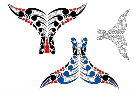 maori: Stylised Maori Koru Whale Tail Design with color variations Illustration