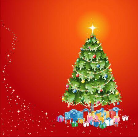 Kerstboom met verlichting Decoratie en presenteert op rode achtergrond EPS10