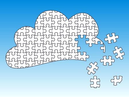 Cloud Computing - jigsaw pieces are movable separate pieces