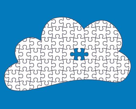 Cloud Computing één stuk ontbrekende - puzzelstukjes zijn beweegbare afzonderlijke stukken Stock Illustratie
