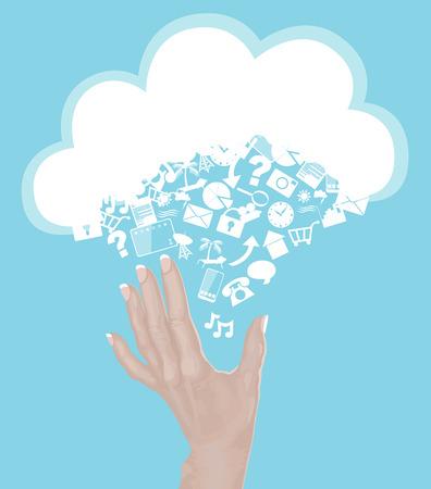 클라우드에 도달 손을 아이콘으로 만든 - 클라우드 컴퓨팅 개념 일러스트