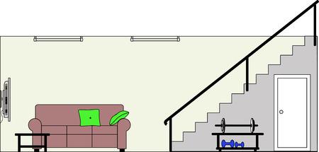 Kelder met Fittings - dit bestand wordt direct passen in de grote 3-niveau huis vector met lege kamers - zie mijn portfolio voor Groot Schema Huis Klaar om Versier