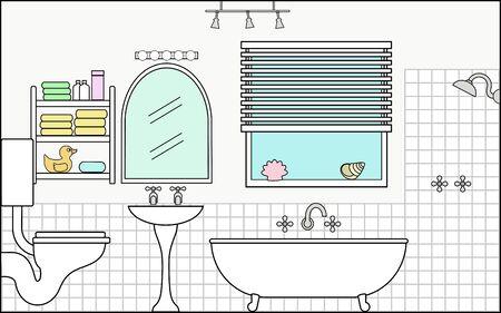 Badkamer met Fittings - dit bestand wordt direct passen in de grote 3-niveau huis vector met lege kamers - zie mijn portfolio voor Groot Schema Huis Klaar om Versier